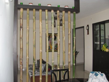 Breaking a large space with natural look using a bamboo inspired partition