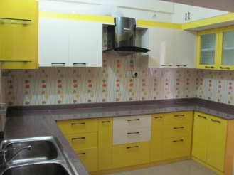 A spring inspired kitchen with patterned tiles