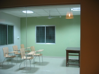 Classrooms done in minimal design with glass walls to give a spatial feel